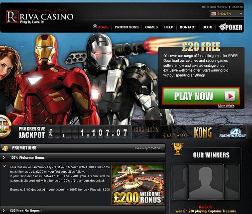 Bonus casino sans depot riva